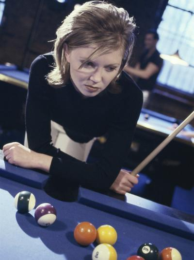 Woman at a Pool Table--Photographic Print