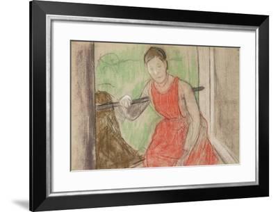 Woman at a Window-Edgar Degas-Framed Giclee Print