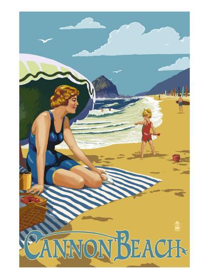 Woman at Cannon Beach, Oregon-Lantern Press-Art Print