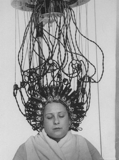 Woman at Hairdressing Salon Getting a Permanent Wave-Alfred Eisenstaedt-Photographic Print