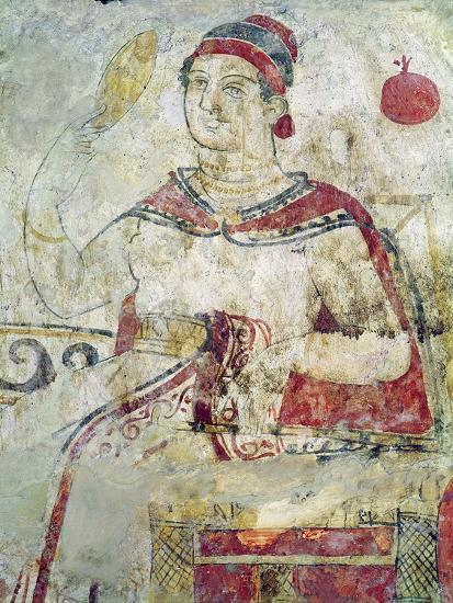 Woman at Her Toilet, Detail from a Funerary Scene, Samnite Period, 5th-4th Century BC-Etruscan-Giclee Print