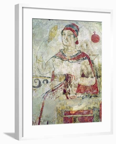 Woman at Her Toilet, Detail from a Funerary Scene, Samnite Period, 5th-4th Century BC-Etruscan-Framed Giclee Print