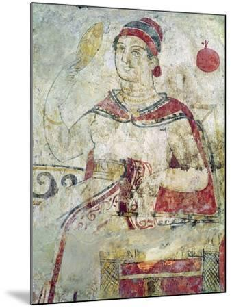 Woman at Her Toilet, Detail from a Funerary Scene, Samnite Period, 5th-4th Century BC-Etruscan-Mounted Giclee Print