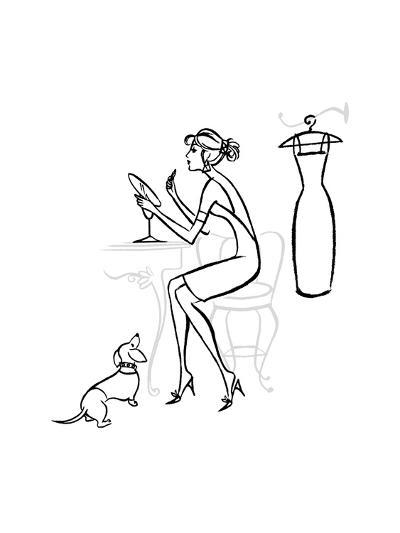 Woman at Makeup Mirror--Art Print