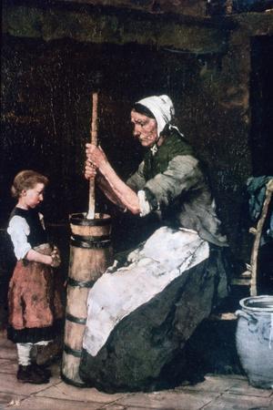 Woman at the Churn, C1864-1900-Mihaly Munkacsy-Giclee Print