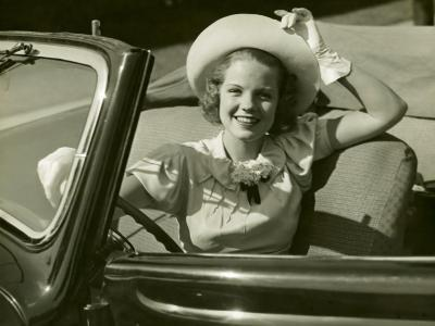 Woman at Wheel of Convertible-George Marks-Photographic Print