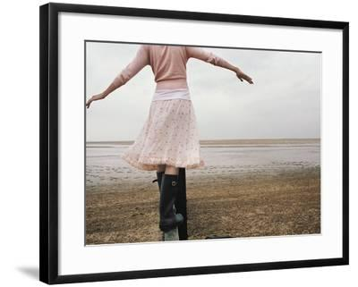 Woman Balancing on a Breakwater--Framed Photographic Print