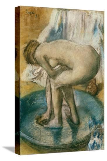 Woman Bathing in a Shallow Tub, 1885-Edgar Degas-Stretched Canvas Print