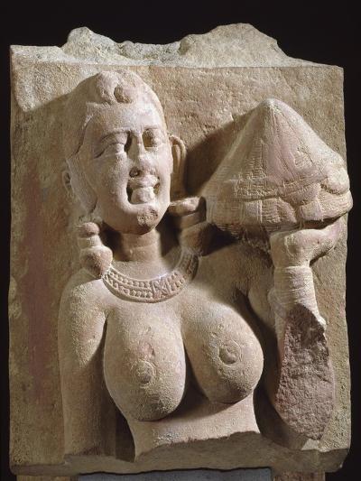 Woman Bearing Offering, Red Stoneware Statue, from Uttar Pradesh, Region of Mathura, India--Giclee Print