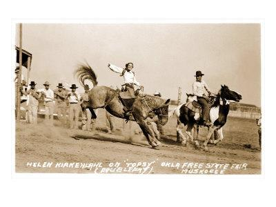 Woman Bronco Rider--Art Print