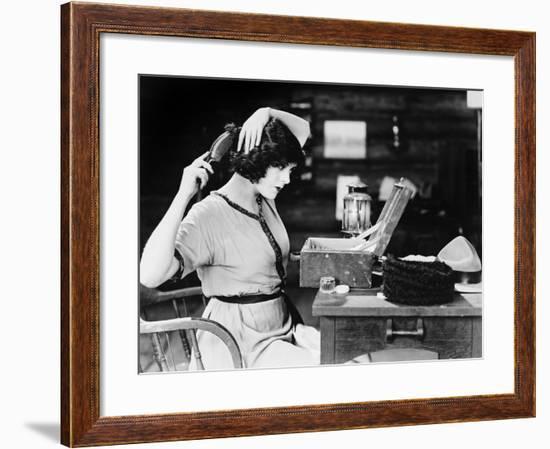 Woman Brushing Hair--Framed Photo