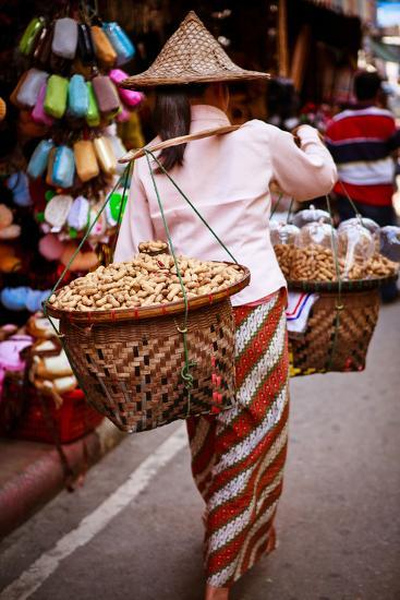Woman Carrying Peanut Baskets - Golden Triangle, Thailand-EvanTravels-Photographic Print