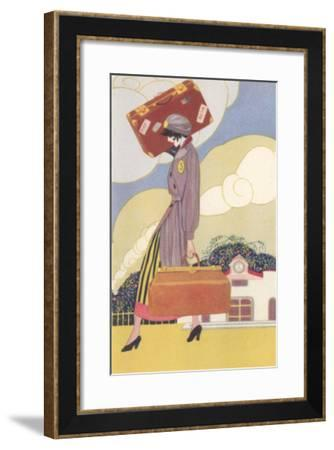 Woman Carrying Suitcase--Framed Art Print