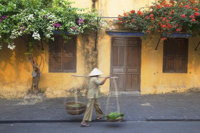 Woman Carrying Vegetables in Street, Hoi An, Quang Nam, Vietnam, Indochina, Southeast Asia, Asia-Ian Trower-Photographic Print