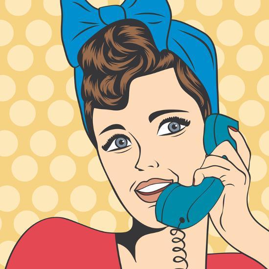 woman chatting on the phone pop art illustration art print by eva