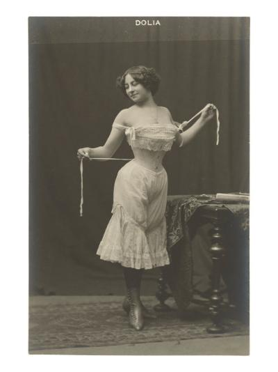 Woman Cinching Corset--Art Print