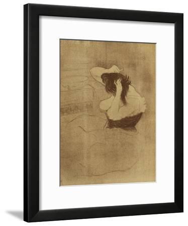 Woman Combing Her Hair - La Coiffure, Plate VII from Elles; Femme Qui Se Peigne - La Coiffure,…-Henri de Toulouse-Lautrec-Framed Giclee Print