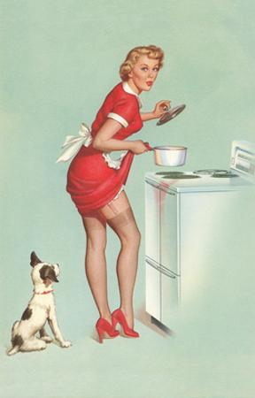Woman Cooking in Short Skirt