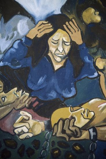 Woman Crying in Front of Men in Chains, Detail, Mural in Orgosolo, Sardinia, Italy--Giclee Print