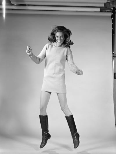 Woman Dancer in Mini-Dress and Black Go-Go Boots Jumping in Air-H^ Armstrong Roberts-Photographic Print