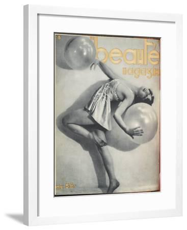 Woman Dancing with Balloons Leans Back and Poses--Framed Giclee Print