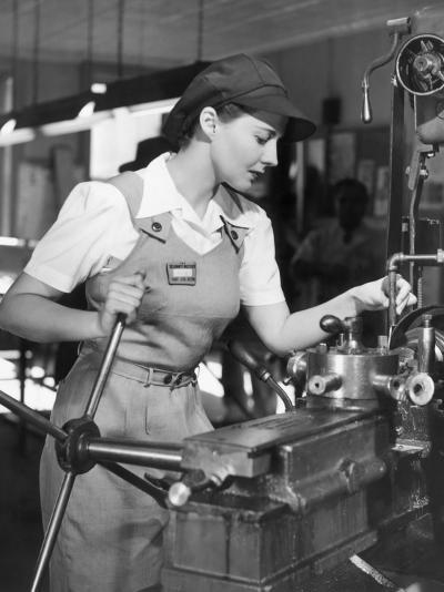 Woman Defense Worker Operating Machinery-George Marks-Photographic Print
