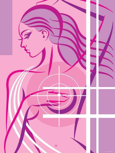Woman Demonstrating Self Examination For Breast Cancer Awareness--Photographic Print