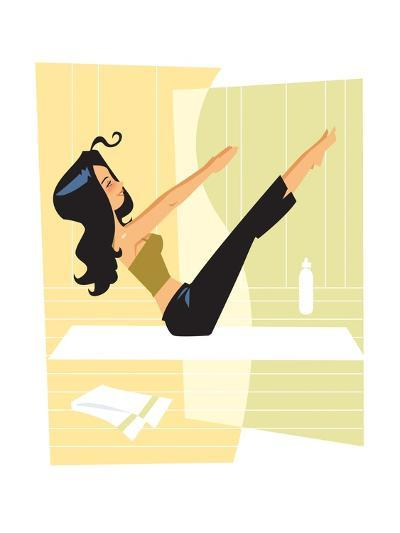 Woman doing Pilates-Harry Briggs-Giclee Print