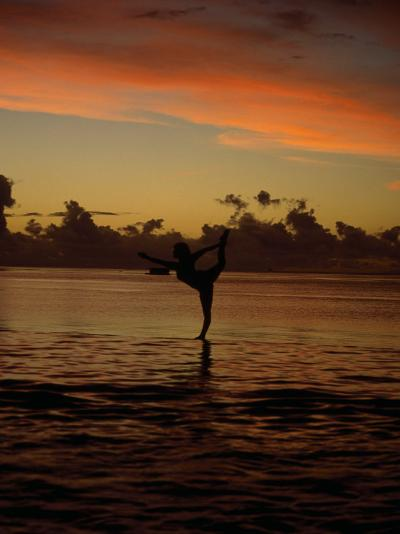 Woman Doing Yoga in Water at Sunset, Tahiti-Barry Winiker-Photographic Print