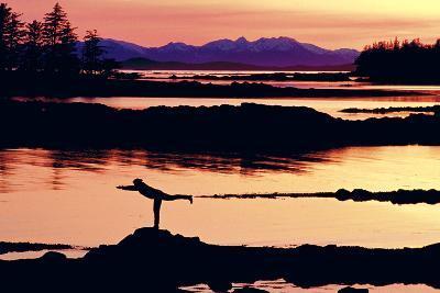 Woman Doing Yoga on a Rocky Beach, Duke Island, Southeast, Alaska-Design Pics Inc-Photographic Print