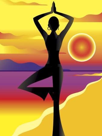 Woman Doing Yoga on Beach at Sunset