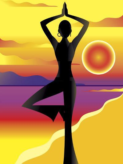 Woman Doing Yoga on Beach at Sunset--Photo