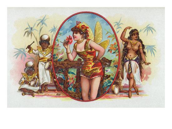 Woman Dressed as a Fairy Smelling a Rose with Islanders Cigar Box Label-Lantern Press-Art Print