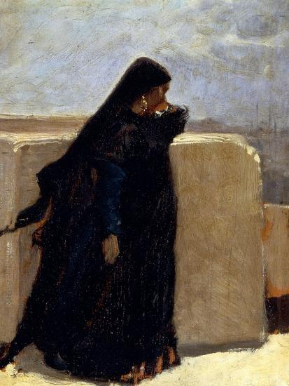 Woman Dressed in Black-Stefano Ussi-Giclee Print