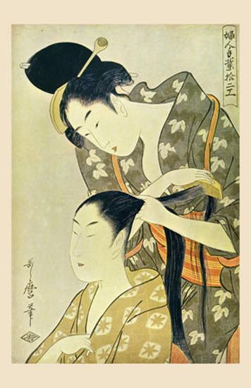 Woman Dressing Another's Hair-Kitagawa Utamaro-Art Print