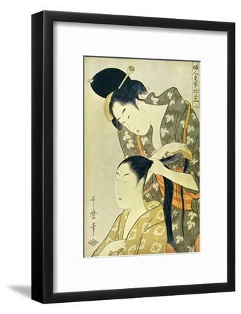 Woman Dressing Another's Hair-Kitagawa Utamaro-Framed Art Print