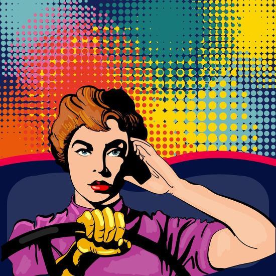 Woman Driving a Car Pop Art Vector Illustration-intueri-Art Print