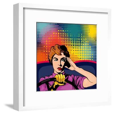 Woman Driving a Car Pop Art Vector Illustration-intueri-Framed Art Print