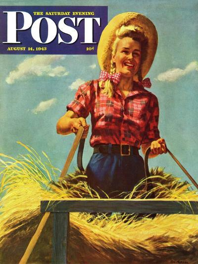 """Woman Driving Hay Wagon,"" Saturday Evening Post Cover, August 14, 1943-Ray Prohaska-Giclee Print"