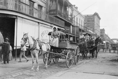 Woman Driving Horse-Drawn Wagon on Street--Photographic Print