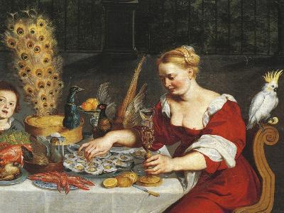 Woman Eating Oysters, Detail from Allegory of Four Elements, Jan Bruegel Elder, Velvet Bruegel--Giclee Print