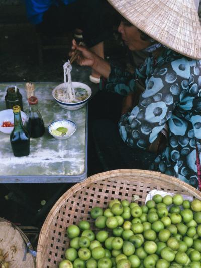 Woman Eating Pho at Food Stall, Cholon Market, Ho Chi Minh City, Indochina-Tim Hall-Photographic Print