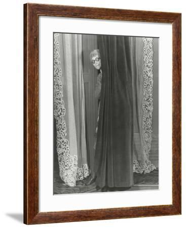 Woman Eavesdropping from Behind Curtain--Framed Photo