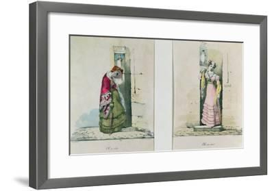 Woman Entering and Leaving an Abortion Clinic, Engraved by Godefroy Engelmann- Wattier-Framed Giclee Print