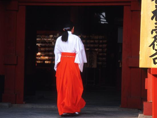 Woman Enters the Tsurugaoka Hachimangu Shrine, Kamakura, Japan-Nancy & Steve Ross-Photographic Print
