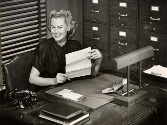 Woman Executive at Her Desk-George Marks-Photographic Print