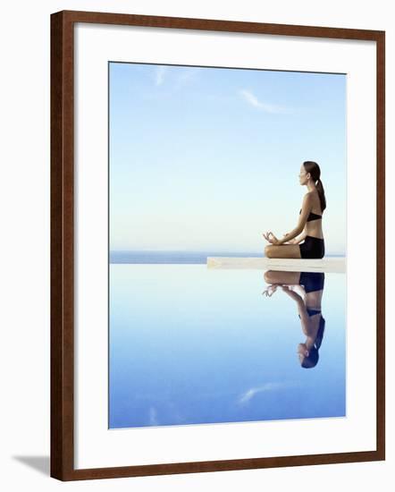 Woman Exercising on Swimming Pool Edge-Jutta Klee-Framed Photographic Print