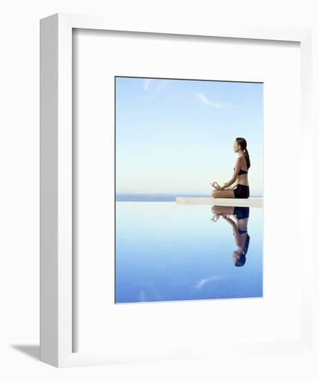 Woman Exercising on Swimming Pool Edge-Jutta Klee-Framed Photographic Print
