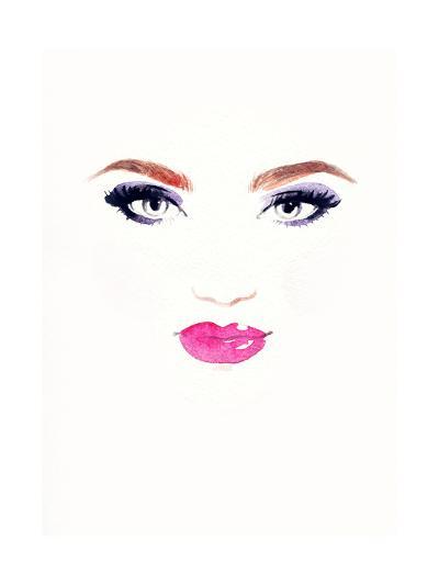 Woman Face.Abstract Watercolor .Fashion Background-Anna Ismagilova-Art Print