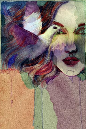 Woman Face and Pigeon. Hand Painted Fashion Illustration-Anna Ismagilova-Art Print